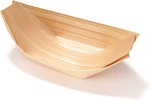 BambooMN Brand - Disposable Wood Boat Plates / Dishes, 4.3