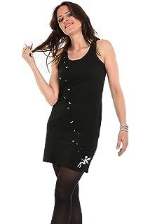 97a900891750 Shirtkleid schwarz Damen Trägerkleid mit Elfen Druck und Schmetterlingen  von 3 Elfen, Longshirt