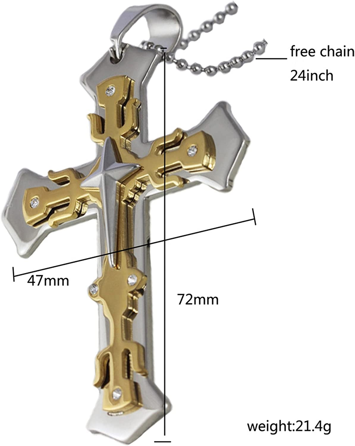 Aokarry Stainless Steel Religious Jewelry Cross Pendant Necklace Multi Layers