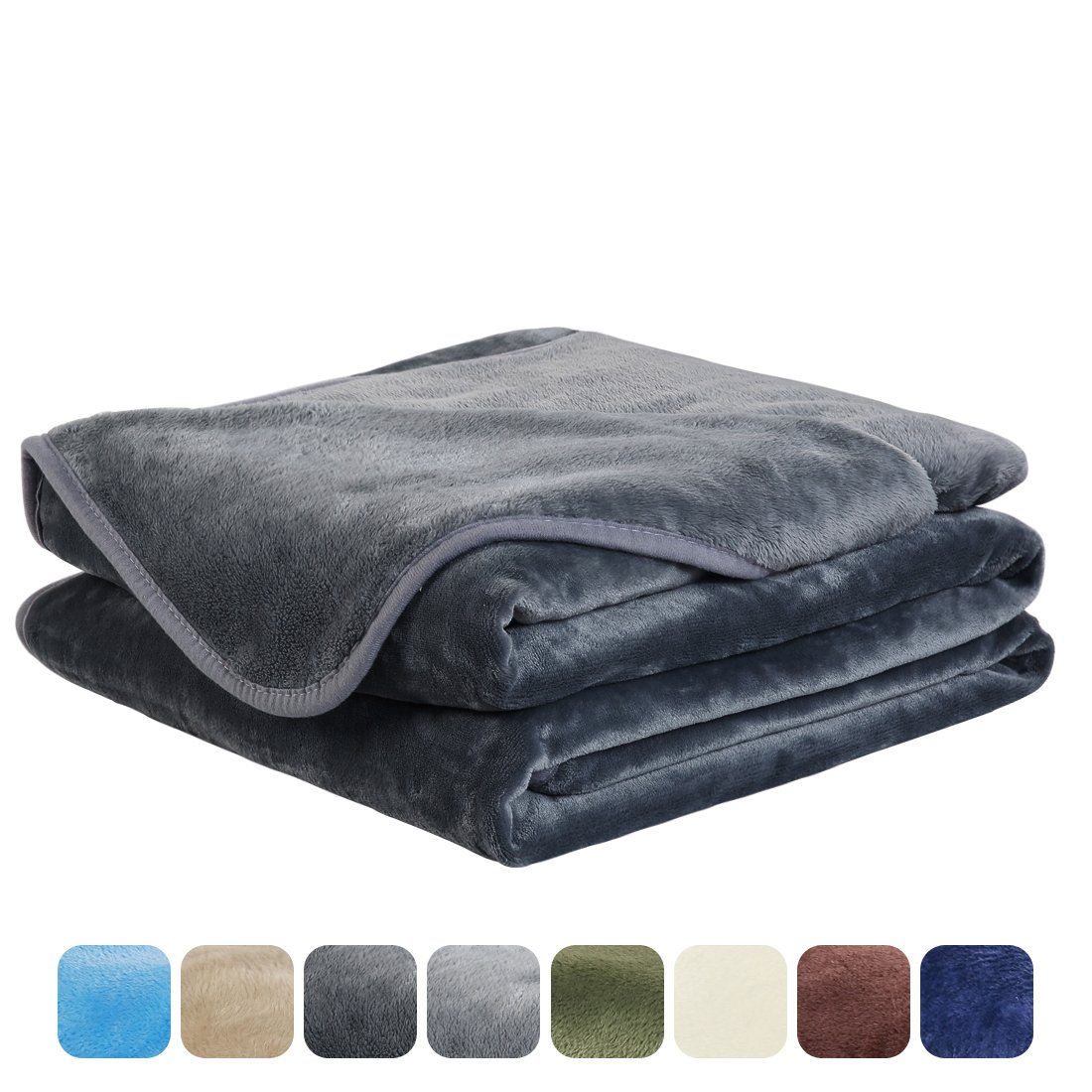 EASELAND Luxury Super Soft King Size Blanket Summer Cooling Warm Fuzzy Microplush Lightweight Thermal Fleece Blankets for Couch Bed Sofa,90 by 108 Inches,Dark Gray