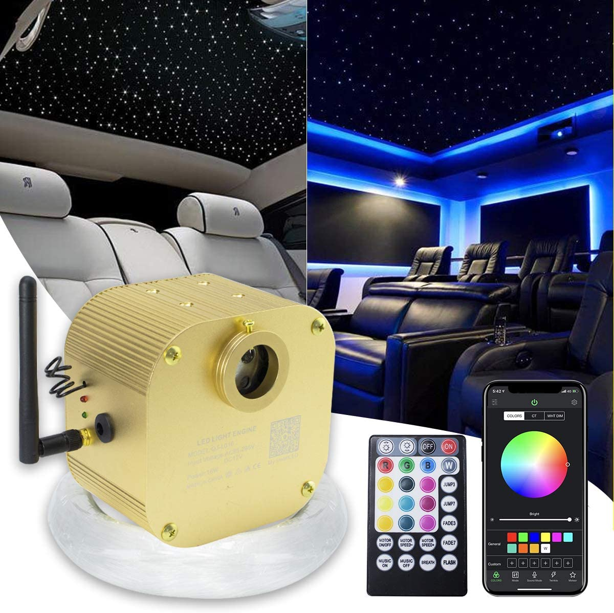 Kingmaled 16 W Car Home App Twinkle Musique Activé Fiber Optic Star Plafond Kit,