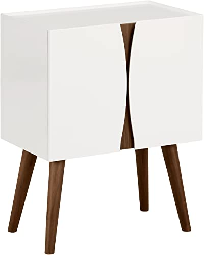 Amazon Brand Rivet Modern Lacquer and Wood Cabinet, 23.6 L, Glossy White and Wood
