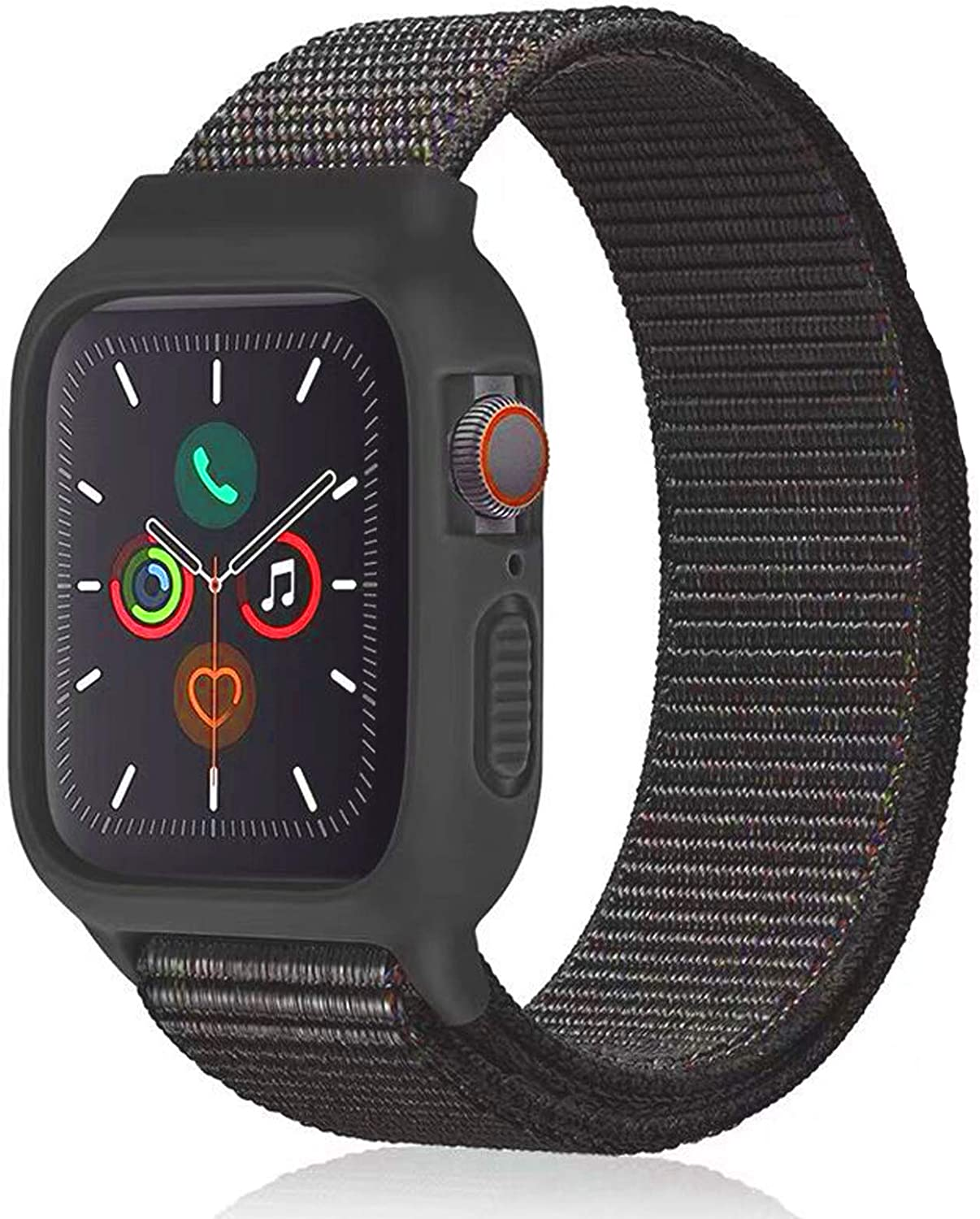 Nylon Sport Band with Case Compatible with Apple Watch Band 44mm 42mm 40mm 38mm, Protective Silicone Bumper Case with Nylon Sport Loop Strap for Series 6/5/4/3/SE for Kids Women Men, Black