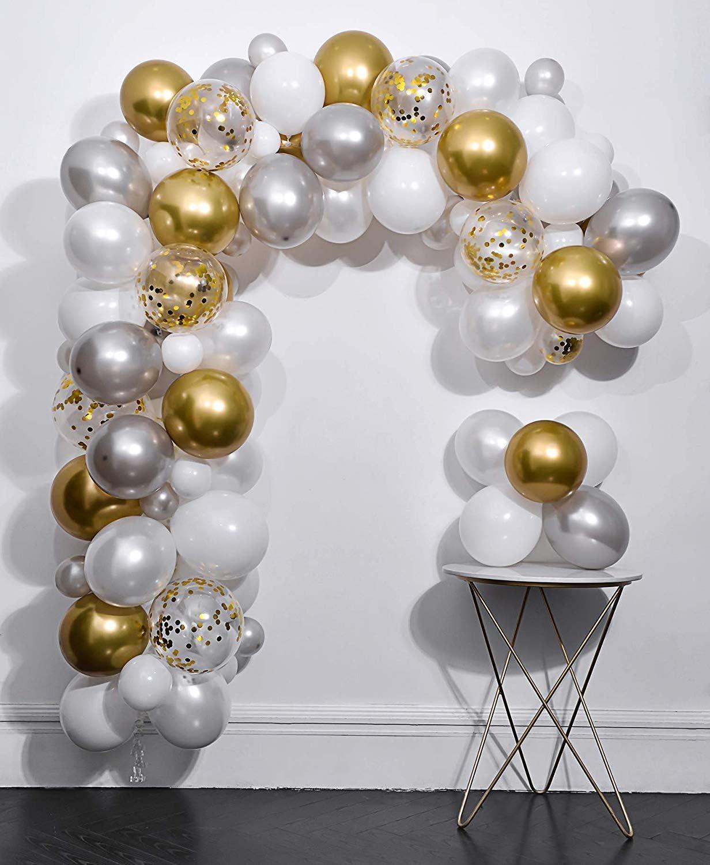 100 pcs 12 inch Pearl White and Gold Metallic Chrome Birthday Balloons for Celebration 2020 Graduation Party Balloons /… Navy Blue and Gold Confetti Balloons
