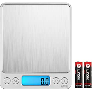 AMIR Digital Kitchen Scale 3000g 0.01oz/ 0.1g Pocket Cooking Scale Mini Food Scale Pro Electronic Jewelry Scale with Back-Lit LCD Display Tare & PCS Functions Stainless Steel Batteries nor Included