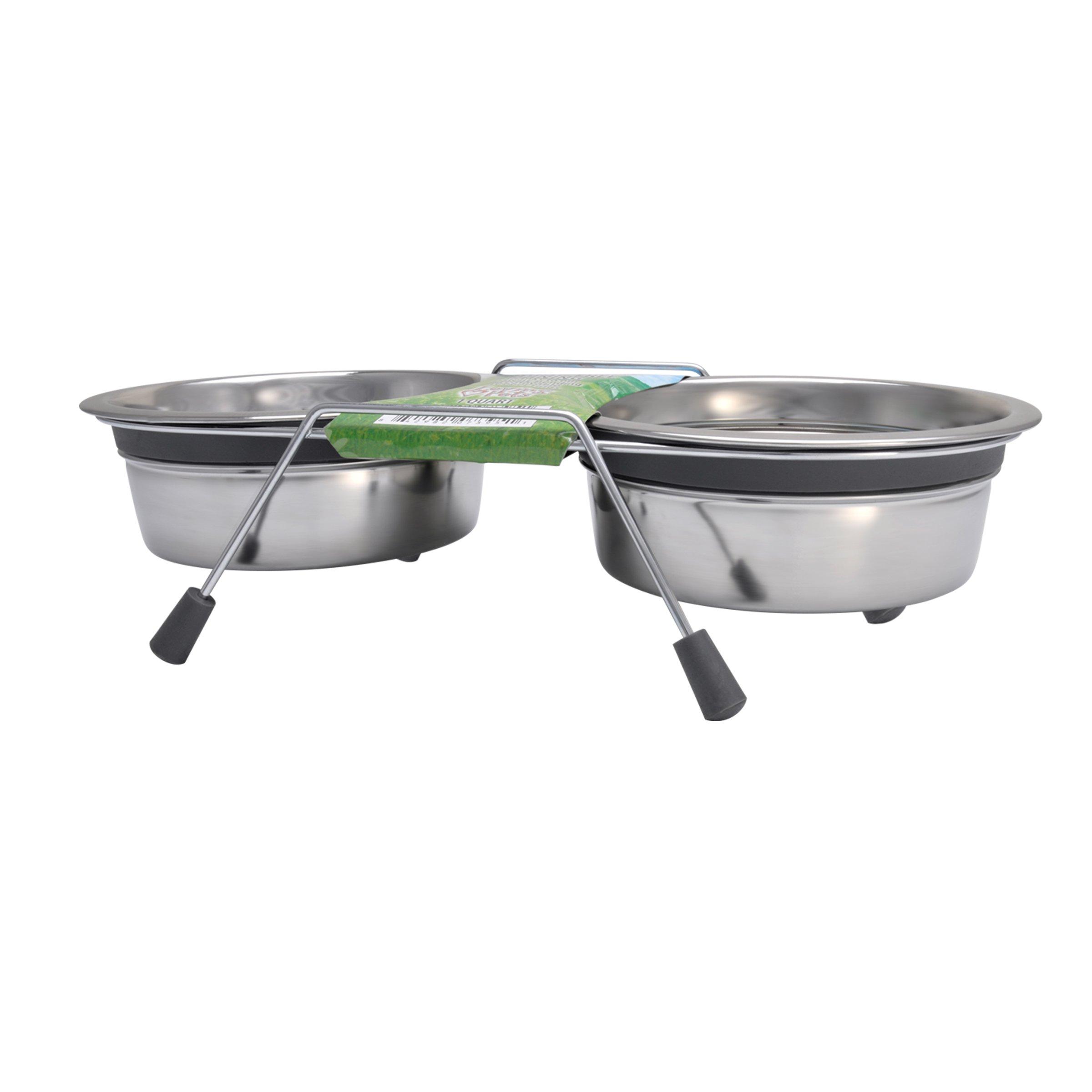 Loving Pets Silent Double Dinner Pet Bowl, 2-Quart, Grey