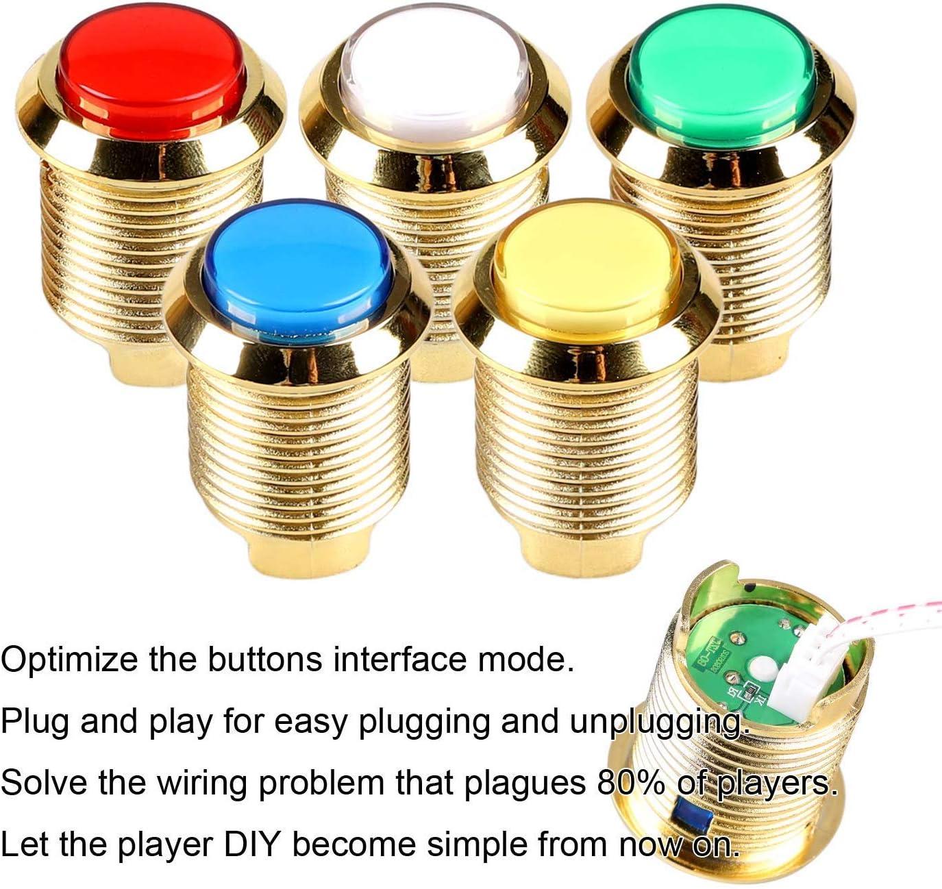 con pulsanti luminosi EG STARTS compatibili con Arcade placcati oro e cromati cavo piccolo da 2,8 mm Cavi a 3 pin