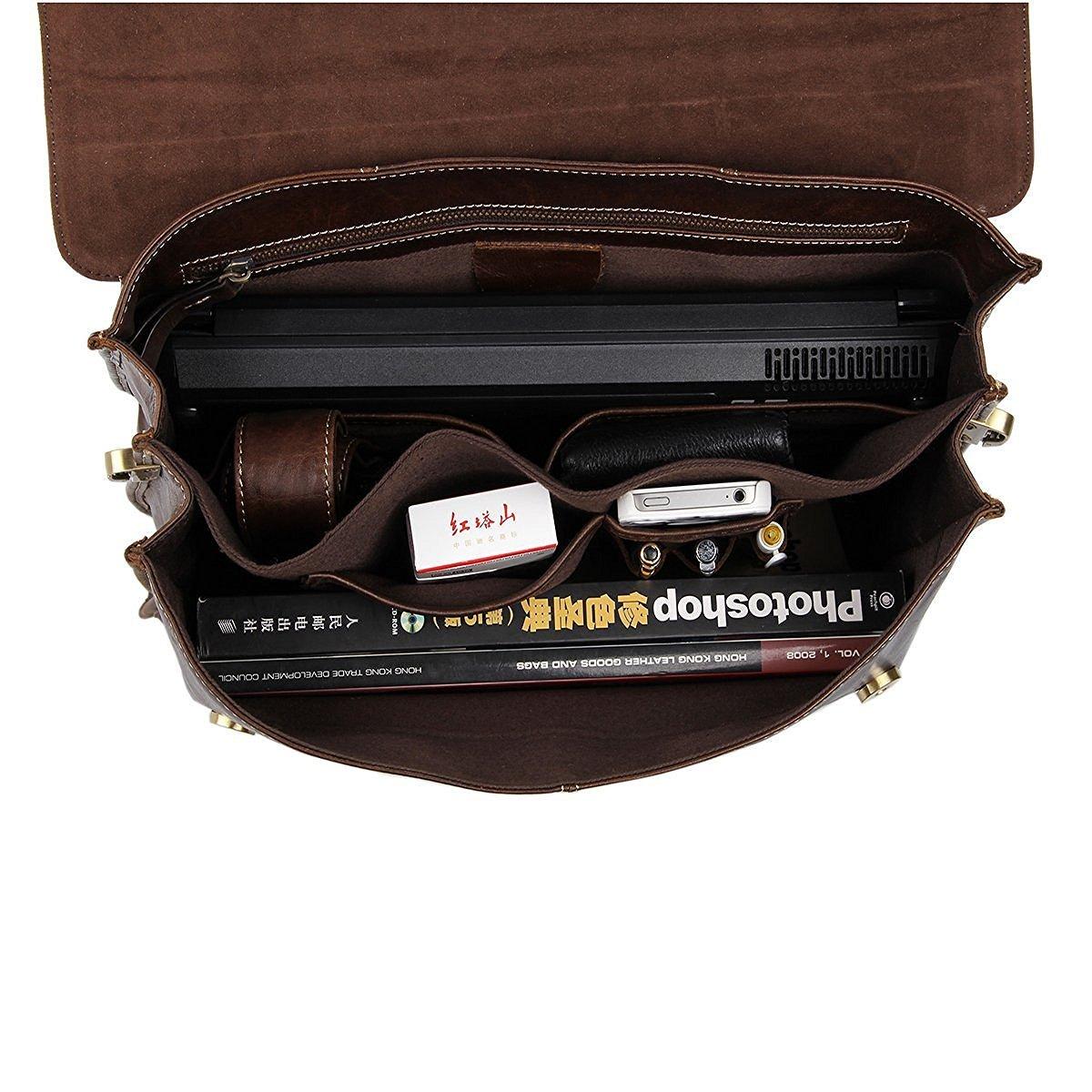Brown Genuine Leather Large Messenger Satchel Shoulder Briefcase Business Bag