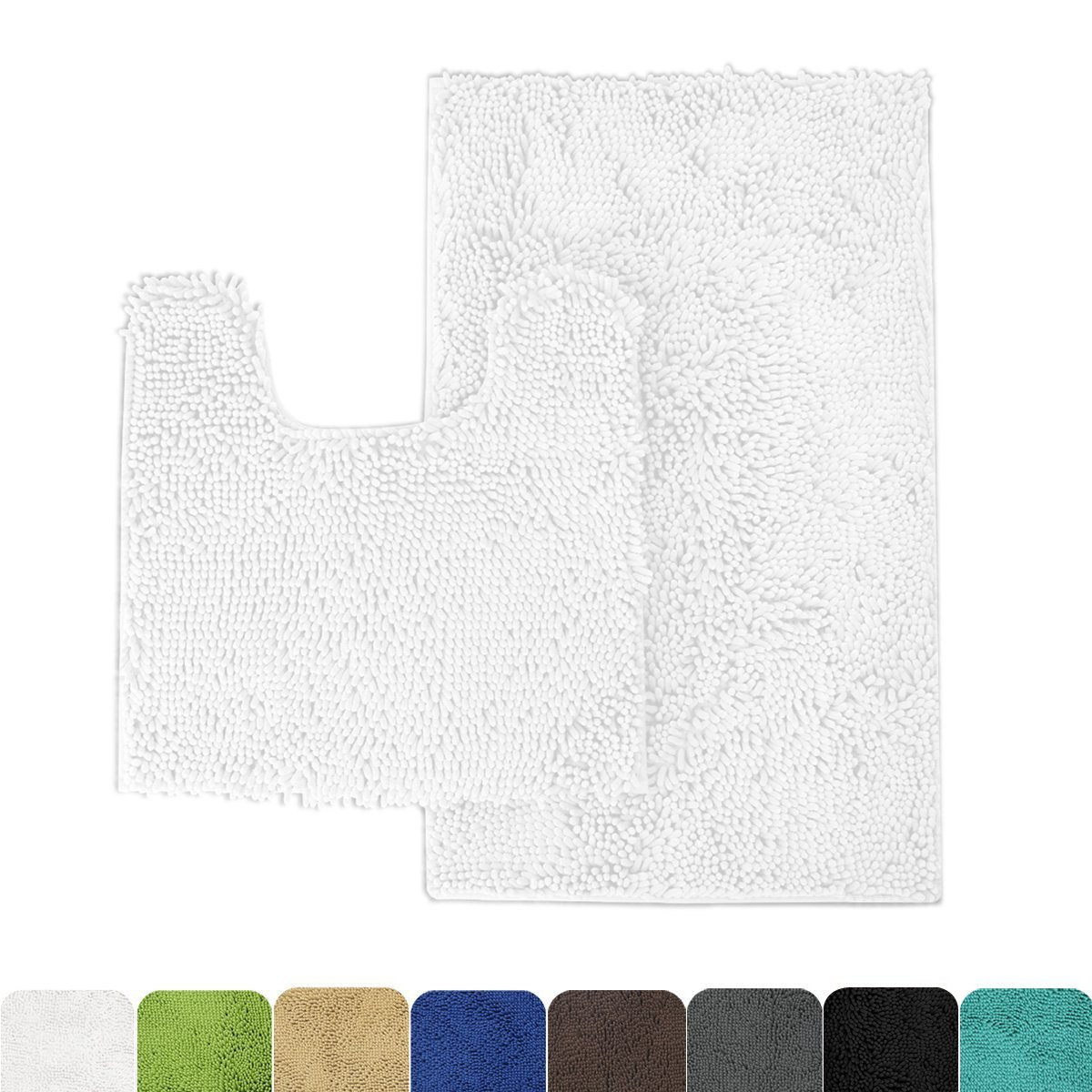 MAYSHINE 2 Pack (20x31/20x20U inches) Non-slip Bathroom Rug toilet Shag Shower Mat Machine-washable Bath mats with Water Absorbent Soft Microfibers of - White