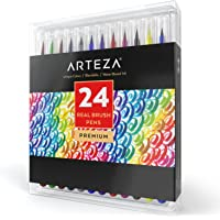 Feutres pinceaux Arteza | 24 couleurs | Feutres aquarellables | Dessin, peinture, aquarelle, calligraphie | Feutres coloriage adultes enfants | Aquarelle facile | Encre non toxique