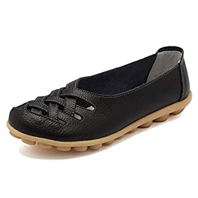 4cc2a819f341 Orangetime Slip On Hollow Out PU Flats for Women Comfort Walking Shoes  Driving Loafers XWD5577 Black