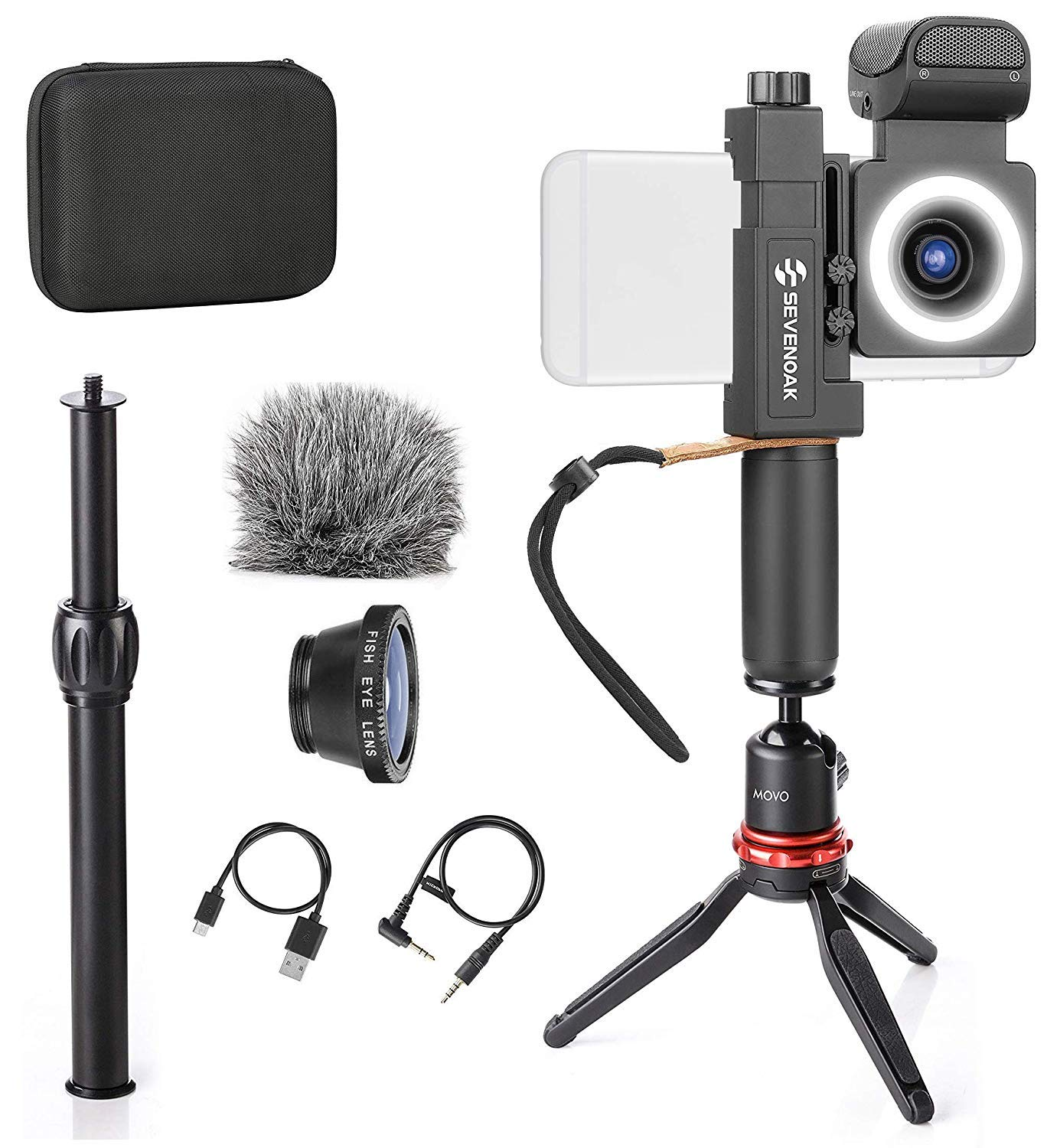 Movo SmartCine Smartphone Video Kit Handheld/Tabletop Bundle - All-in-One Grip Rig, Tripod, Microphone, Light, Lenses - for Vlogging, Makeup, Tutorials, YouTube - Compatible with iPhone and Android by Movo