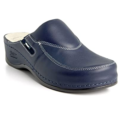 Amazon.com | BATZ FC10 Handmade Leather Womens Ladies Slip-on Clogs Mules | Mules & Clogs