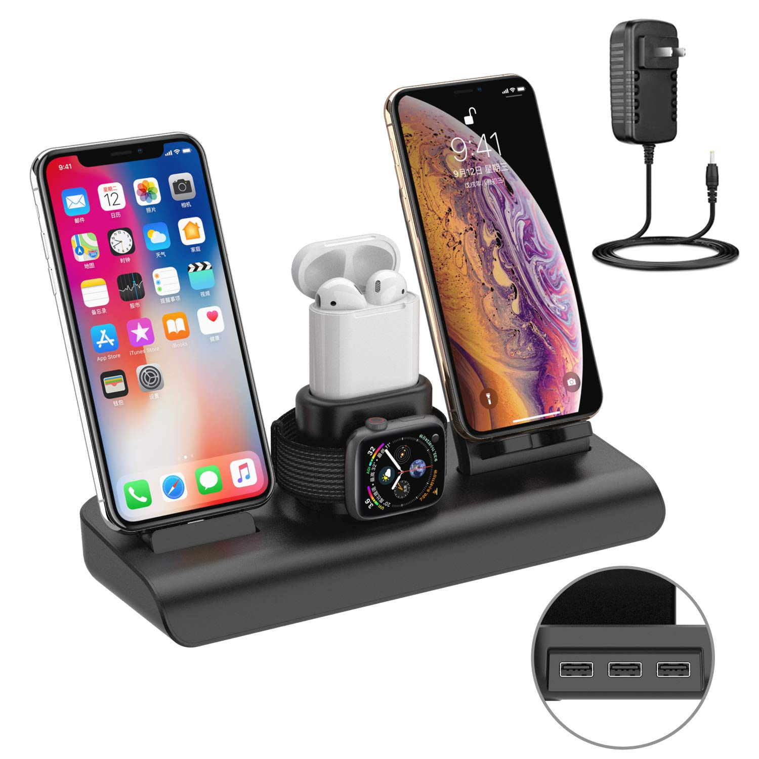Wireless Charger Station Pad for iPhone,Apple Watch Charging Stand with iPhone Wireless Charger Stand Airpods Charging Dock Stand for iPhone X XS XR 8 Plus (Black)