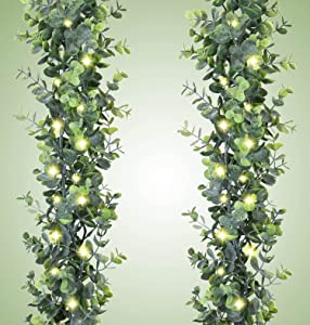 Artificial Eucalyptus Garland - 2 Pack Fake Greenery Garland Wedding Backdrop Arch Wall Decor with 2pcs 20LED Fairy Lights, Fake Hanging Plant for Table Party Decoration