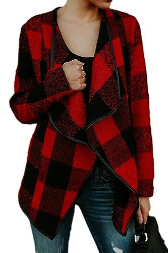 La Mujer Classic Plaid Print Cardigan Autumn Coat Jacket