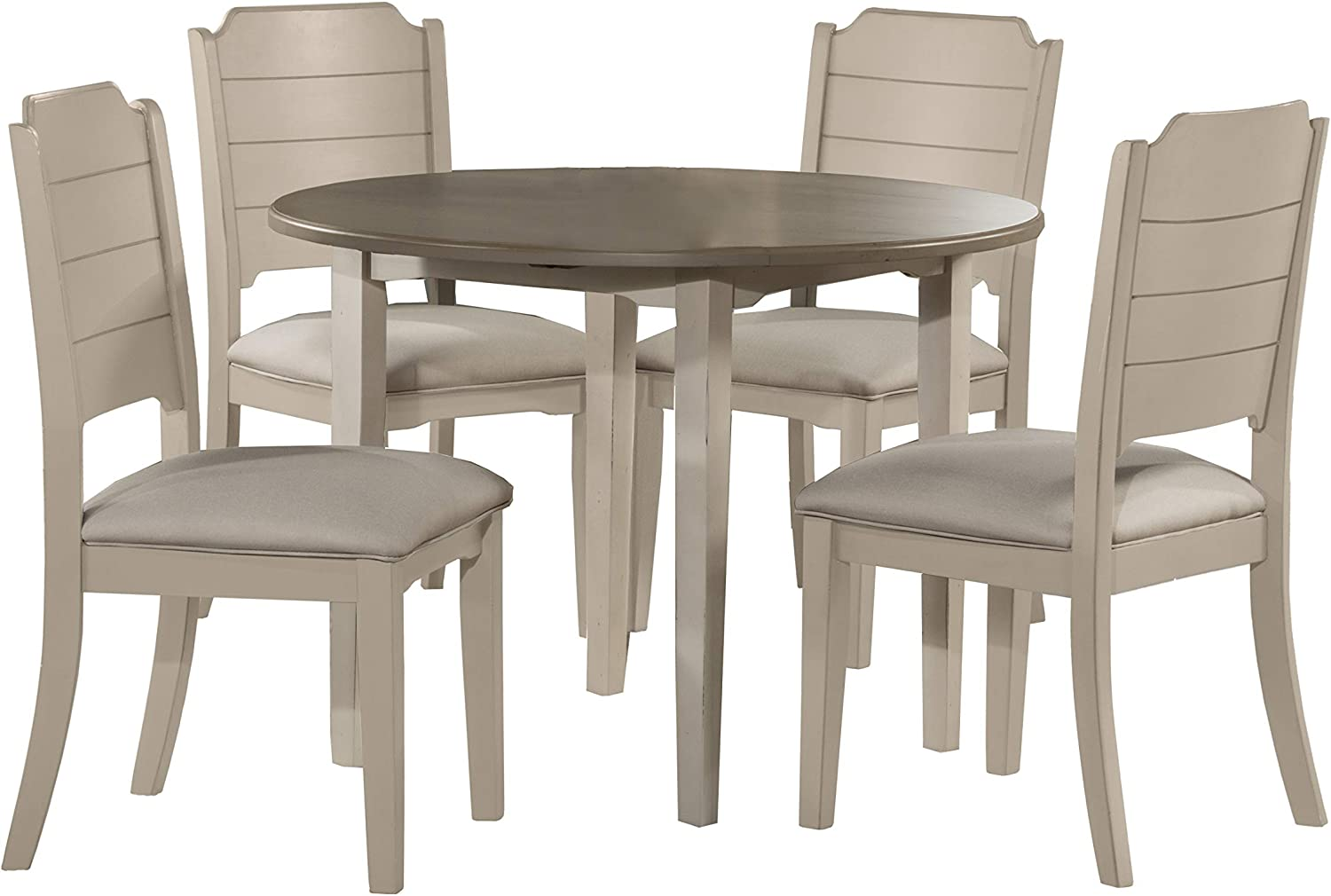 Hillsdale Furniture Round Drop Leaf Table 5 Piece Dining Set Sea White Table Chair Sets