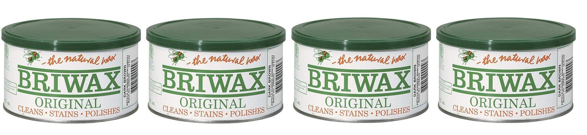 Briwax Darkbrown (Dark Brown) Furniture Wax, Cleans, Stains, and Polishes (Fоur Paсk)