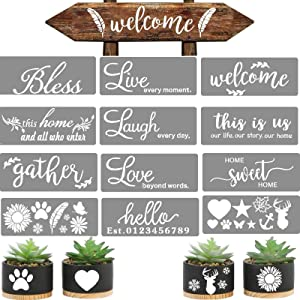 12 pcs Welcome Stencils for Painting on Wood Home Sign Stencils Reusable Letter Stencils for Painting on Wood Comes with Stencil-Sunflower,Dog Paw Stencil and orther Pattern