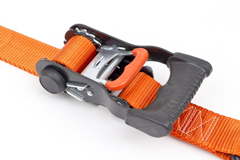 Black 1/½ x 7ft PowerTye Mfg Made in USA Ergonomic Locking Ratchet Tie-Downs with Heavy-Duty S-Hooks pair