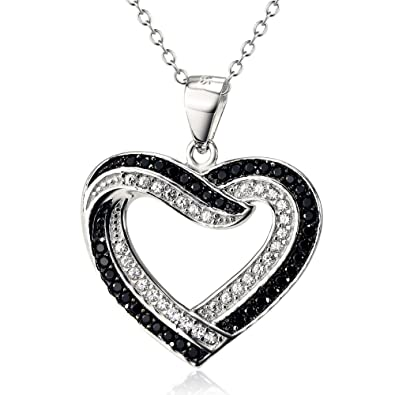 034948dbd8ab4 SILVER MOUNTAIN Two Tone 925 Sterling Silver Infinite Love Heart Pendant  with CZ Necklace For Women