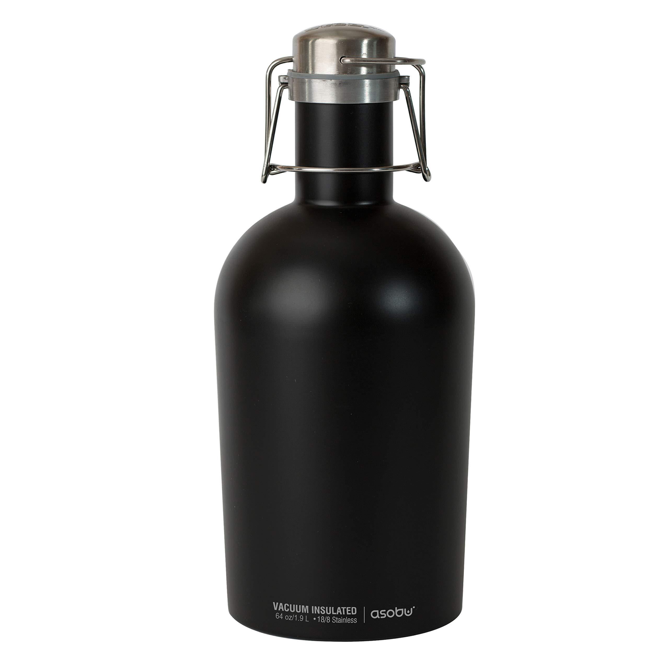 Asobu G2G-9241 Coolest Stainless Steel Beer Growler 2 Go, 64 oz, Black