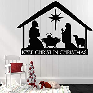 ElegantDecal Nativity Christmas Decorations Wall Decals - Religious Clings Stickers for Home Outside Window Door - Xmas New Year Holiday Party Winter D?cor