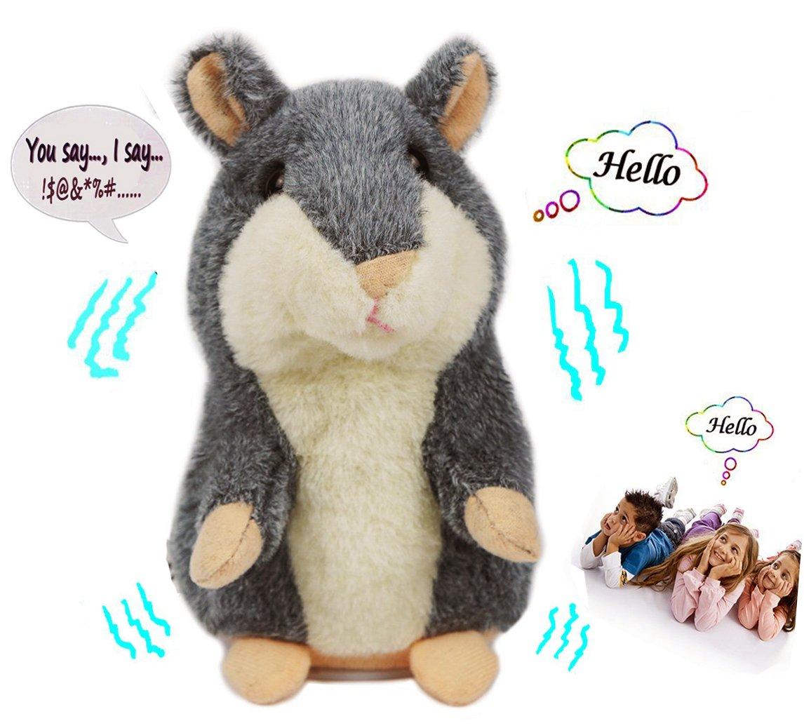 Dax-Hub Criceto Parlante, Pet Ripete sempre quello che dici, Giocattolo animale di peluche, Topo ratto Elettronico mouse del criceto per i Regali dei ragazzi e delle ragazze, 14.5x 8x 8cm (Grigio)