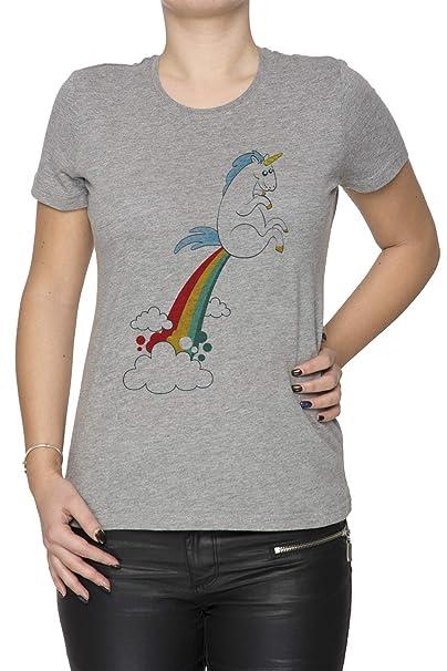Erido Gracioso Unicornio Pedo Arco Iris Nube - Unicornio Mujer Camiseta Cuello Redondo Gris Manga Corta Todos Los Tamaños Womens Grey T-Shirt: Amazon.es: ...