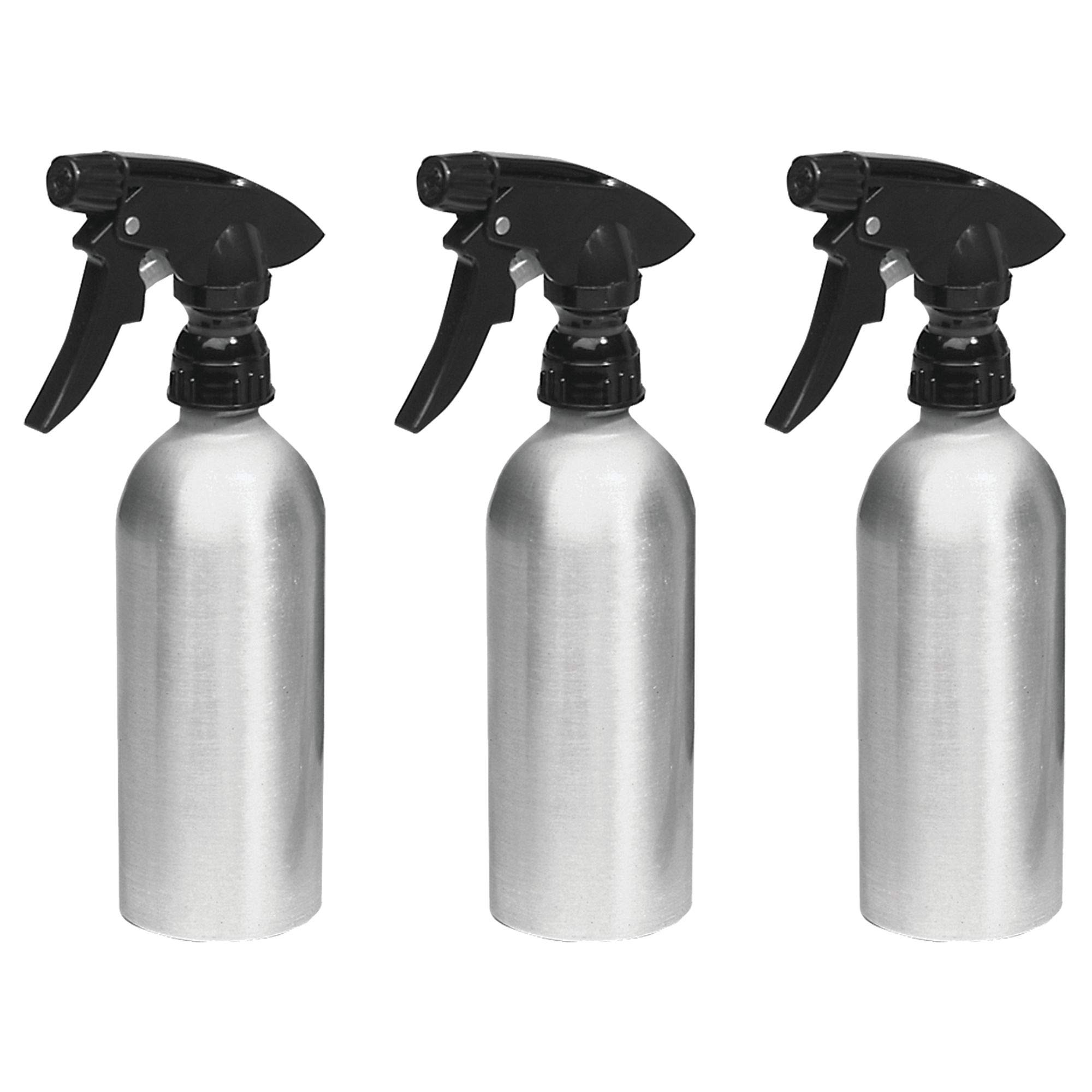 mDesign Rustproof Aluminum Spray Bottles, Trigger - Pack of 3, 12-oz, Brushed/Black
