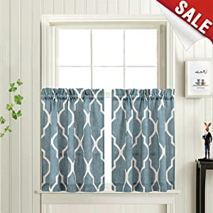 Moroccan Tile Printed Tier Curtains for Kitchen Modern Cafe Half Window Panels 36 inch Length Lattice Flax Linen Blend Textured Curtain Set 1 Pair Blue