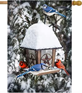 """ShineSnow Blue Jays Cardinals Christmas Birds in Seasonal Winter Snow Tree House Flag 28"""" x 40"""" Double Sided Polyester Welcome Large Yard Garden Flag Banners for Patio Lawn Home Outdoor Decor"""