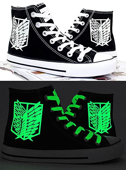 Attack on Titan Shingeki No Kyojin Wings of Liberty Cosplay Shoes Canvas Shoes  Sneakers Luminous Black 5a31a630b