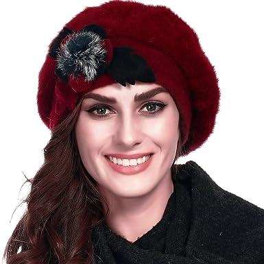 e154db3b04869 FORBUSITE Cute Women s Chunky Angora Beret Beanie Hat Inner Lining  (Burgundy)