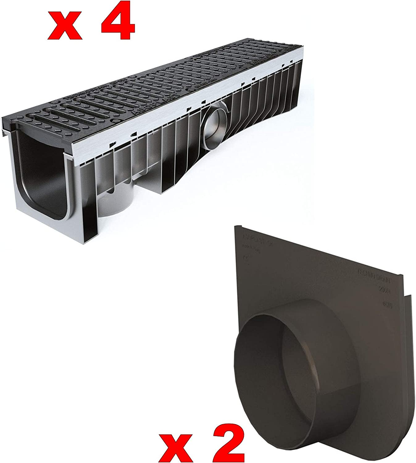 4 x Clark Drain CD D10-210-18P 100mm High Heavy Duty D400 40 Tonne Channel PVC Channel with Ductile Iron Drainage 18mm Slot Grating Locked metre 1m Length Water Rain Storm Shower Driveway