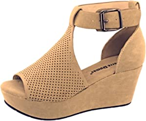 Pierre Dumas Natural-4 Womens Cutout Open-Toe Ankle Strap Platform Wedge Sandals