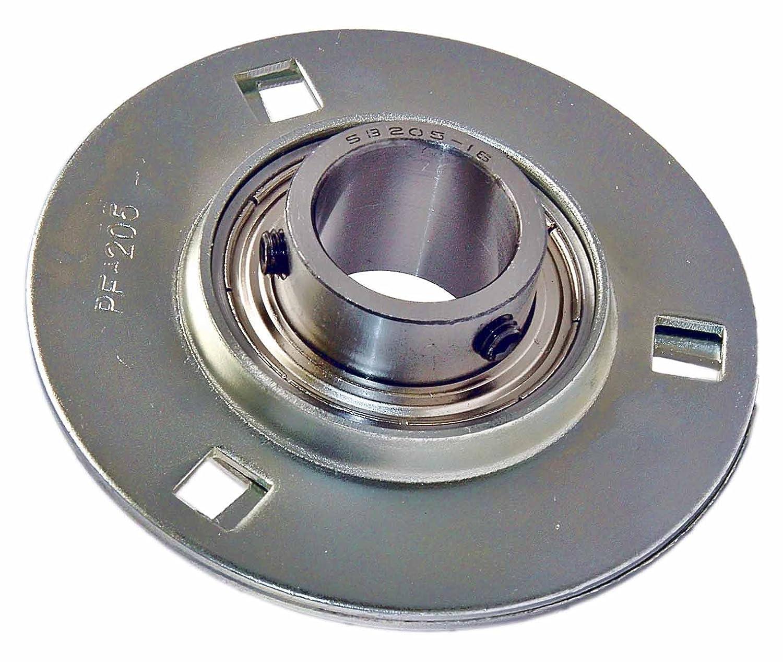 "SBPFT205-16 NEW 1/"" Set Screw Pressed Steel Triangle 3-Bolt Flange Bearing"