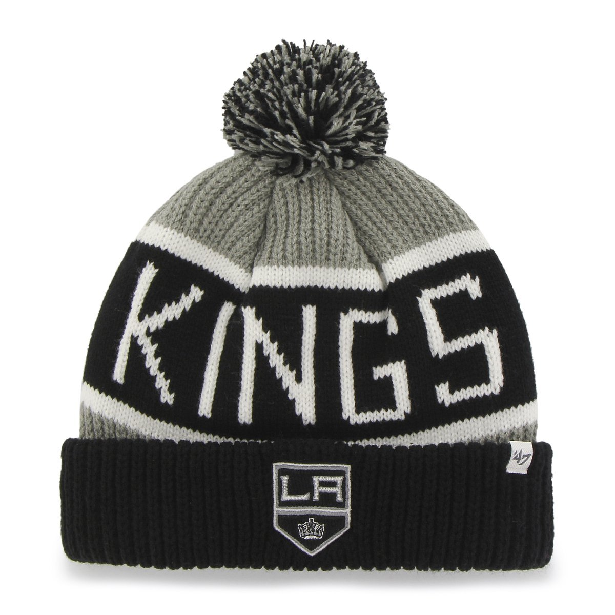 '47 NHL Los Angeles Kings Calgary Bobble Knit Hat - Ice Hockey Winter Hat, Black / Grey 47 Brand