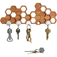 Honeycomb Magnetic Key Holder for Wall, A Unique Bamboo Mount and Decorative Wooden Storage Rack