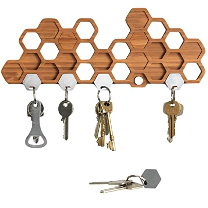 bu honeycomb magnetic key holder for wall a unique bamboo mount