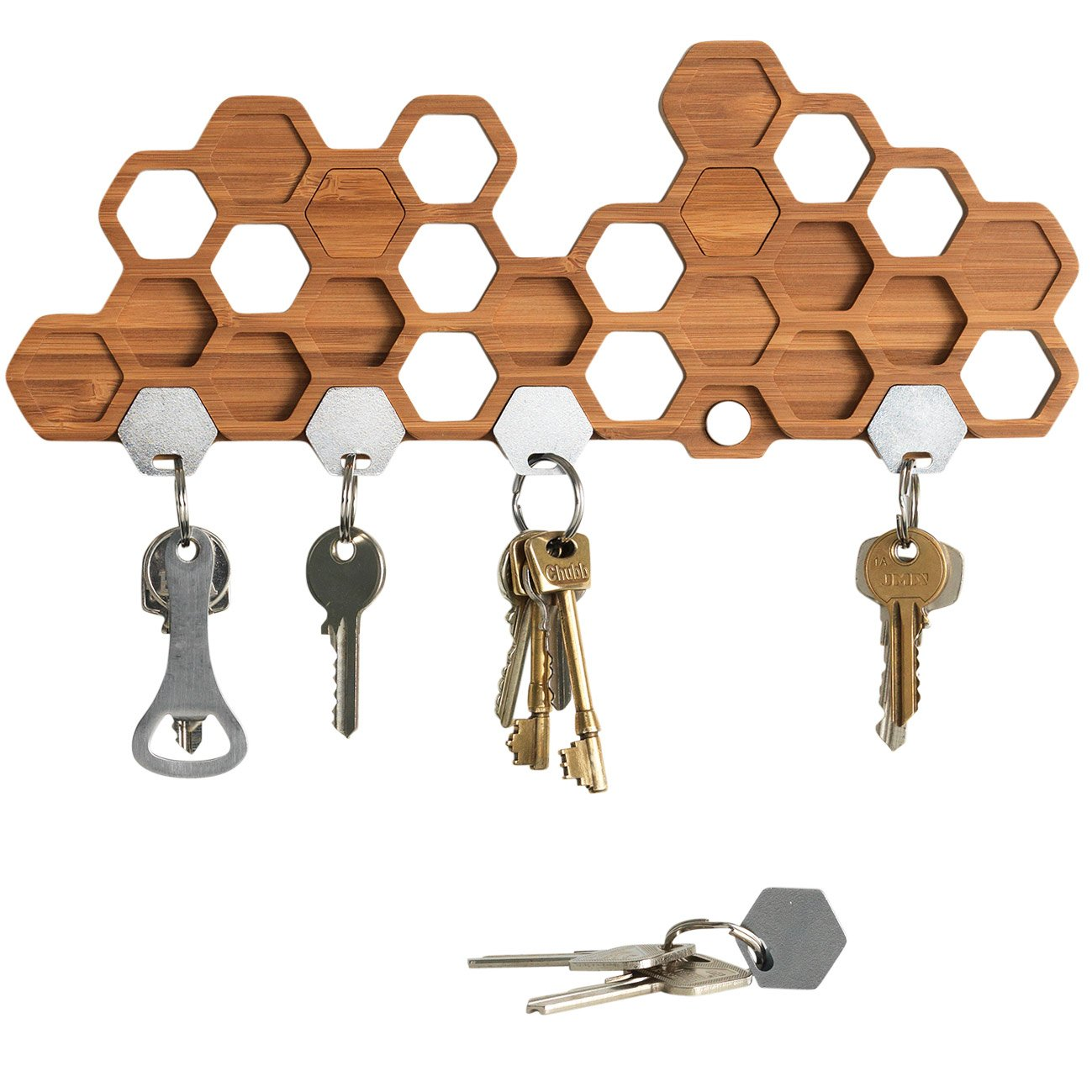 BU Products Honeycomb Magnetic Key Holder For Wall, A Unique Bamboo Mount And Decorative Wooden Storage Rack