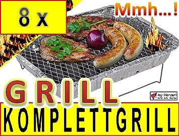8 x desechables Barbacoa como camping eléctrica parrilla plegable plegable camping Grill parrillas de aluminio una