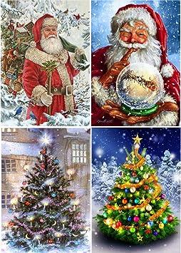 Runrain Kit Per Pittura A Mosaico Fai Da Te 5d Albero Di Natale Babbo Natale Con Strass E Ricamo A Punto Croce Decorazione Per La Casa Confezione Da 4 Amazon It Fai