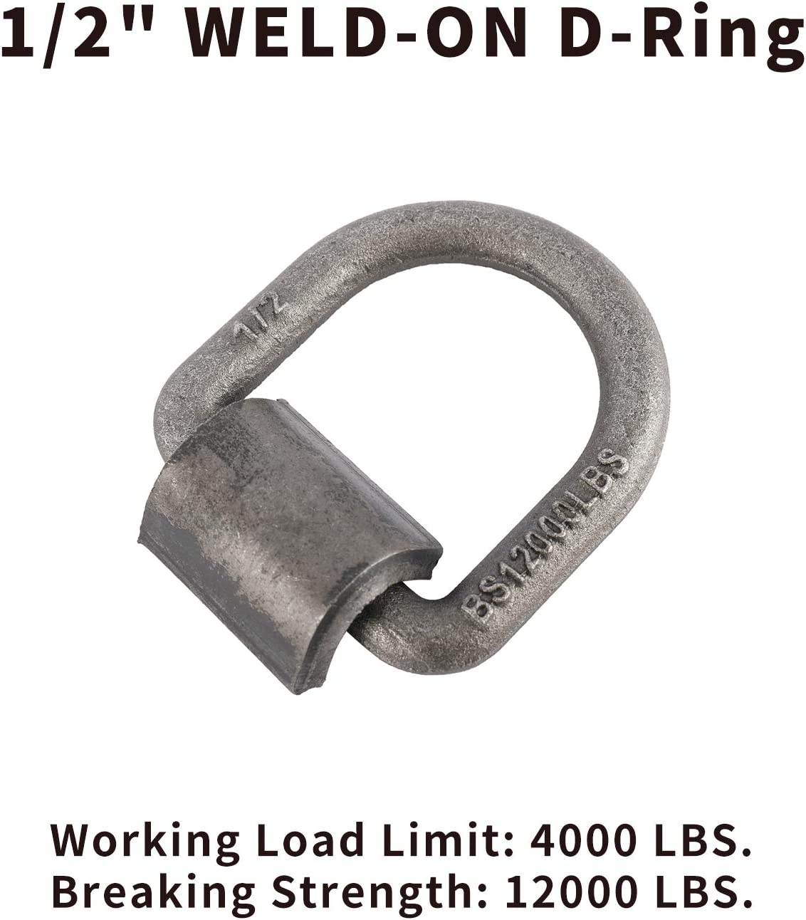 10 10-Pack Flatbed Weld-On 1//2 D Ring Tie Down Anchors 4000 lbs Heay Duty Forged Steel D Rings Tie Down Point for Trucks Trailers