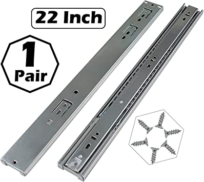 Heavy Duty Drawer Glides Soft Close Silent Glide Rust Proof Zinc Plated Metal 3 Section Ball Bearing Full Extension Soft Close Drawer Glides 12 inches Hardware for 1 Drawer