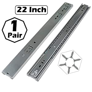 Gobrico 22-Inch Heavy Duty 100 Lb. Full Extension Ball Bearing Drawer Slides Soft Close Rail Runners 1Pair