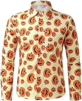 ღLILICATღ Camisa de Vestir Casual para Hombre Halloween Camisas con Botones Camisa Floral de Manga Larga Camisa Estampada de Calabaza Camisa de Trabajo: Amazon.es: Deportes y aire libre
