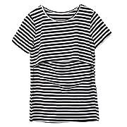 Women Breastfeeding Shirt Striped Patchwork Short Sleeve Maternity Breastfeeding and Nursing Tops (XL, Black)