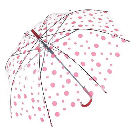 Remedios automático abierto claro transparente los lunares palillo paraguas lluvia,Rosa profundo