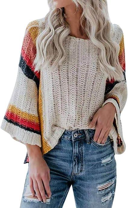 Suéter Mujer SUNNSEAN Top de Suéter Informal de Punto de Manga Larga de Color Multi de Moda para Mujer Camisas Elegantes Casual Blusas Tops Camisetas Suderas Otoño Invierno (M, Beige): Amazon.es: Instrumentos